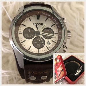 FOSSIL Men Brown Leather Wrist Watch w/ Gift Tin